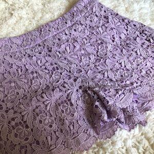 Lavender crochet lace shorts